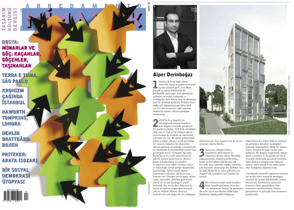 Alper Derinboğaz answered the questions on Arredamento Magazine's April 2019 issue.